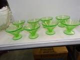 8 Green Depression Glas Sherbets 3