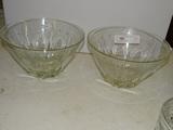 2 Large Etched Crystal Bowls