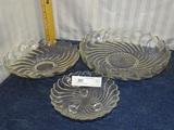 3 Swirl Pattern Crystal Bowls