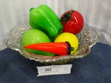 Crystal Bowl With 6  Glass Fruits