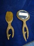 Dresser Set- Mirror and Brush  Sterling Medalion