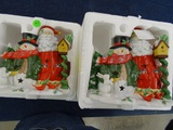 2 Santa & Snowman Candle Holders