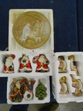 Box Lot of Misc. Christnas Figurines & Plate