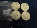 4 Ea 1964 Silver Kennedy Half Dollars