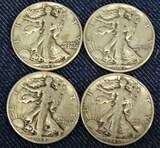 4 Walking Liberty Half Dollars 1942,43,44,45