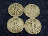 4 Walking Liberty Half Dollars 1941D,42D,43D,46