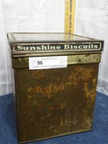 Vintage Sunshine Biscuits Tin Can Glass Top Crackd