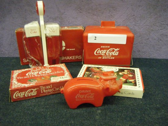 Coca-Cola lot bank,cards,saly& pepper etc
