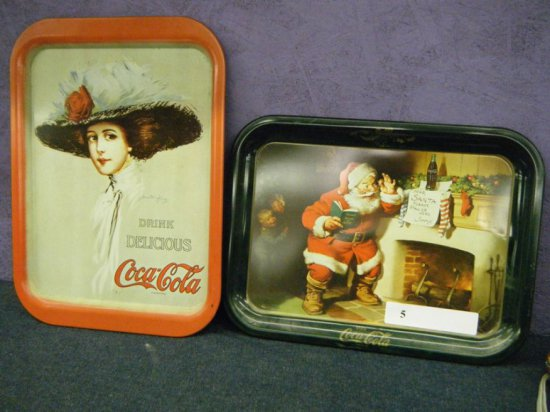 Two Coca-Cola trays date unknown