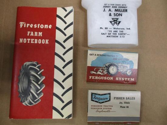 85455 Firestone notebook, Ferguson matches, JA Miller and Son salt/ pepper shakers