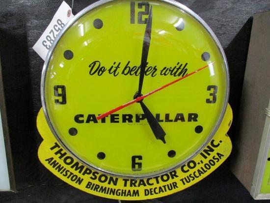 "85286 - Caterpillar Glass Clock, 14.5"" Circle Thompson Tractor Co."