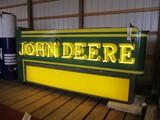 98877-JOHN DEERE DOUBLE SIDED, NEON, PORCELAIN SIGN