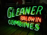 98898-GLEANER BALDWIN COMBINE, DOUBLE SIDED, NEON,PORCELAIN SIGN