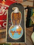 99118-CASE EAGLE SINGLE SIDED, NEON SHELL, PORCELAIN SIGN