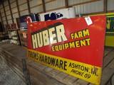 99122-HUBER FARM EQUIPMENT, THOM'S HARDWARE, TWO-DIGIT PHONE #, METAL SIGN