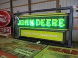 99127-JOHN DEERE DOUBLE SIDED, NEON, PORCELAIN SIGN