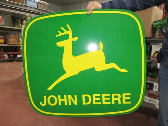 "2804-32"" X 28"" DOUBLE SIDED 2 LEGGED JOHN DEERE TIN SIGN"
