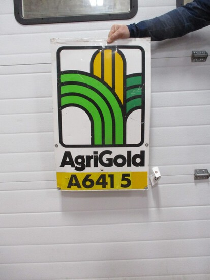 """2916- 18"""" X 28"""" AGRIGOLD DOUBLE SIDED TIN SIGN"""