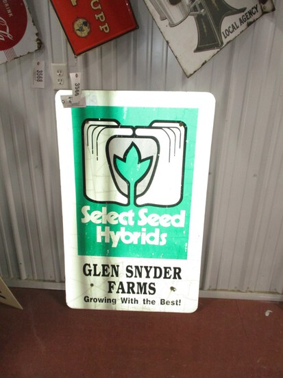 """2930- 30' W X 40""""SINGLE SIDED SELECT SEED TIN SIGN"""