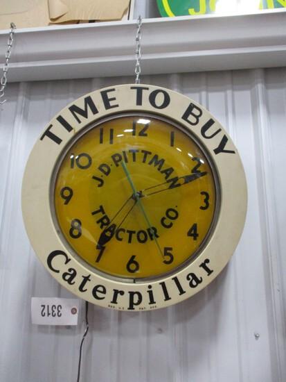 3312- CATEPILLAR PITTMAN TRACTOR CO. LIGHTED CLOCK, WORKS