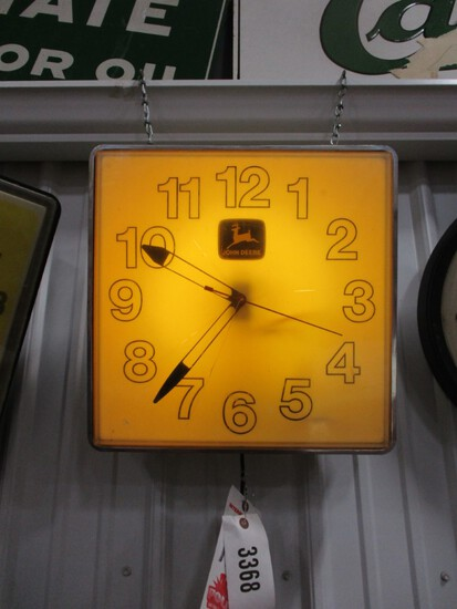 """3368- APPROX. 16"""" SQUARE JOHN DEERE CLOCK, LIGHT WORKS, CLOCK DOES NOT"""