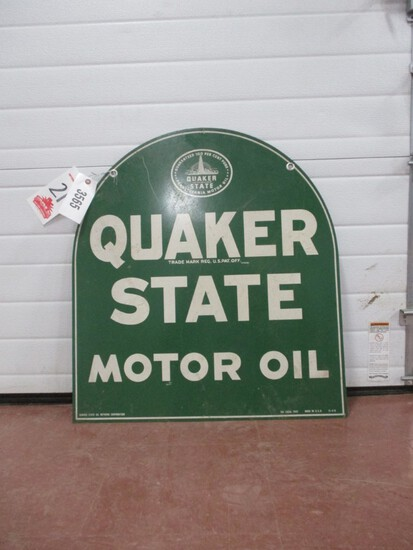 """3565-26"""" X 29"""" DOUBLE SIDED QUAKER STATE TOMBSTONE, 1949 TIN SIGN"""