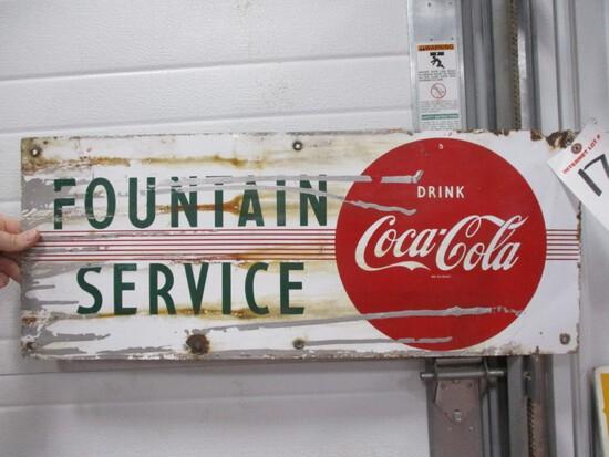 "3568- 12"" X 29"" COCA COLA SINGLE SIDED PORCELAIN FOUNTAIN SERVICE"