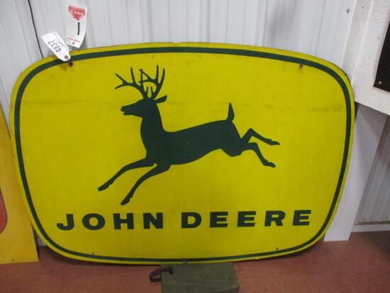 """4837- 4 LEGGED JOHN DEERE  SIGN SINGLE SIDED ON WOOD FRAME 42"""" X 59"""""""