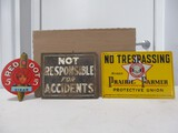 3573- NO TRESSPASSING, (1)TIN SIGN & RED DOT CARDBOARD SIGN