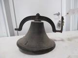 3587- CAST IRON DINNER BELL W/CLANKER, NO YOKE