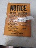 4456- ROAD CLOSED PAPER SIGNS (10)QTY