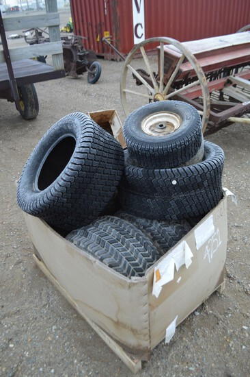 4251- BOX OF TIRES- 23 X 10'S, SOME WITH RIMS
