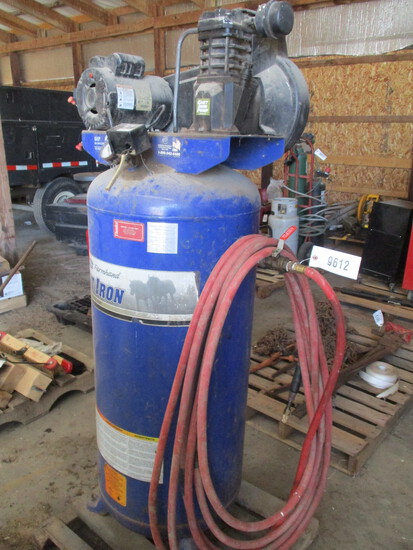 9612-PALLET OF UPRIGHT AIR COMPRESSOR WITH HOSE, 60 GALLON, ELECTRIC CORD CUT