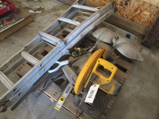 9616-PALLET OF LADDERS, SHOVELS, TORCHES, SAW