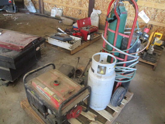 9617-PALLET OF TORCH, GENERATOR, LP TANK, TRAILER HITCH