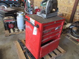 9614-PALLET OF (2) TOOL BOXES, CUTT OF SAW, DRAWBAR