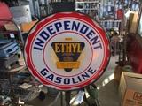 91496-INDEPENDENT ETHYL GASOLINE PORCELAIN SIGN
