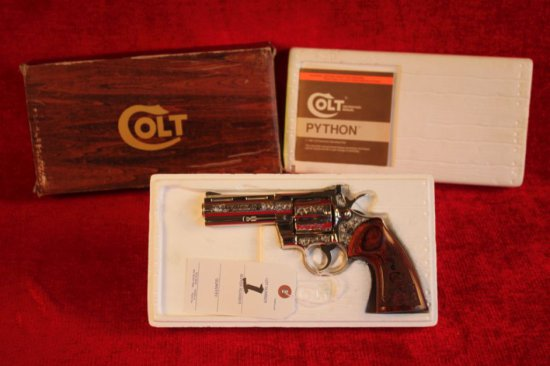 "1. 1972 Colt Python .357 MAG, 4"" Barrel, Colt Custom Shop Box, Beautiful Engraving, SN: E39148"