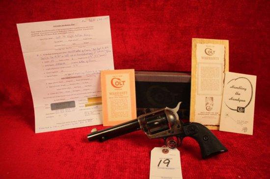 """19. 1958 Colt 2nd Gen. SAA .45,  5½"""" Barrel, Blued w/ Color Case Hardened Receiver  SN: 208665A"""