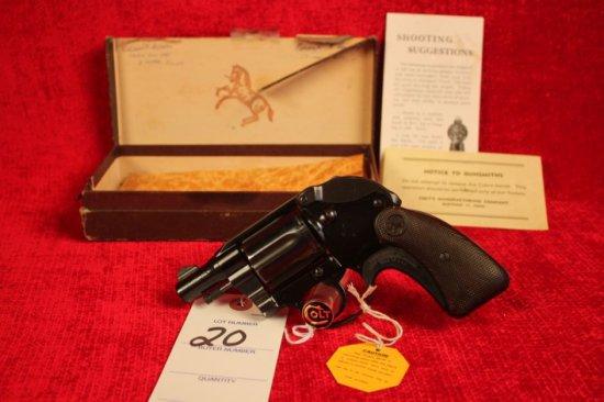 20. 1951 Colt Cobra .38 Spl, Snub Nose, Colt Factory Hammer Shroud, Blued, SN: 6456-LW