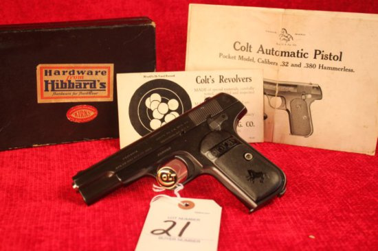 21. 1915 Colt 1903 .32, Orig. Box & Papers, SN: 184884