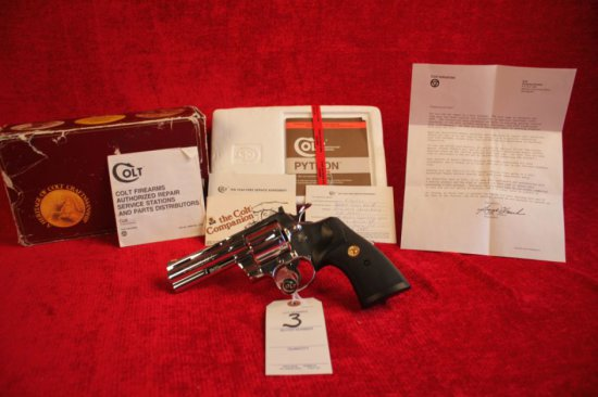 """3. 1988 Colt Python .357 MAG, Bright Stainless, 4"""" Barrel, SN: T76451"""