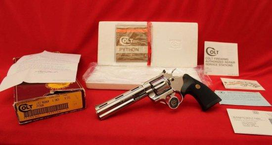 "3A. 1987 Colt Python BSTS, Bright Stainless, 6"" Barrel NIB, Rare SN:T62476"
