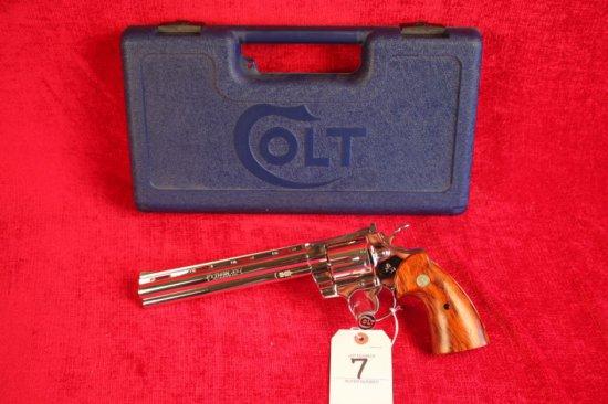"""7. 1981 Colt Python .357, Nickel, 8"""" Barrel, SN: K18848"""