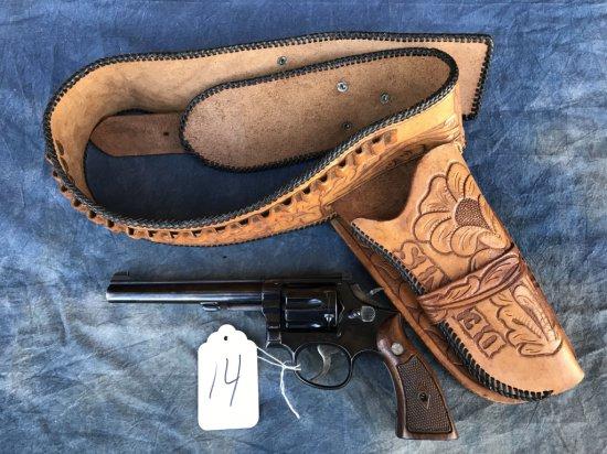 "14. S&W K17 .22LR Revolver w/ Tooled Leather Holster ""Dennis"" SN: K327615"