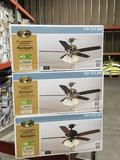 (3) Hampton Bay 52 in. Rockport Large Room Ceiling Fans