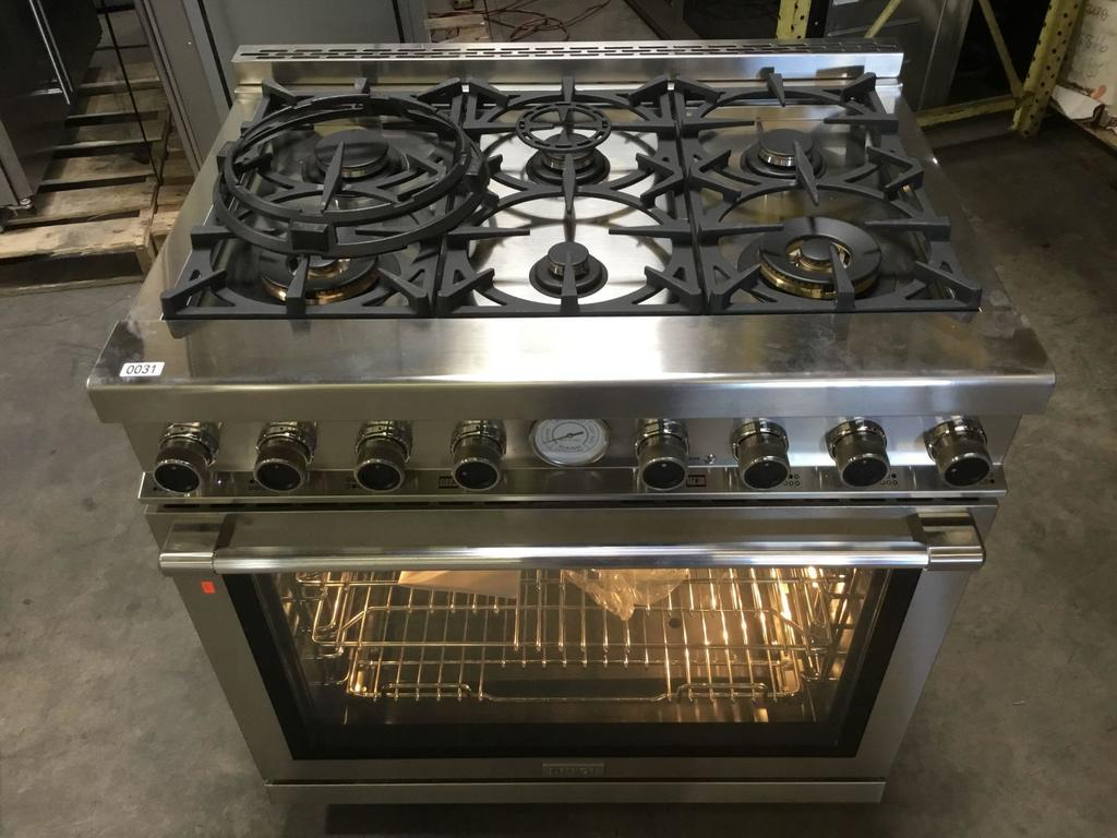 Tecnogas Superiore Next 36in. Panorama Stainless Steel Gas Range