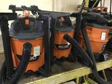 (3) Ridgid Wet/Dry Vacuums