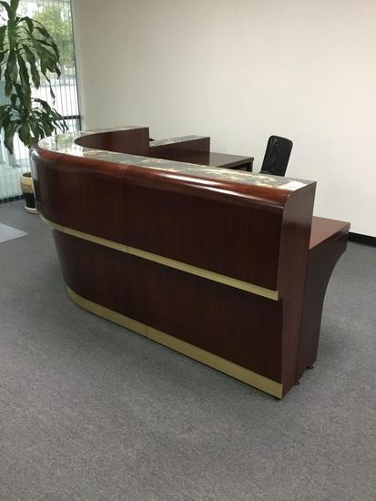 Georgia Reception Desk w/Assorted Extensions, 3ft. Pedestal and Mid-Back Chair