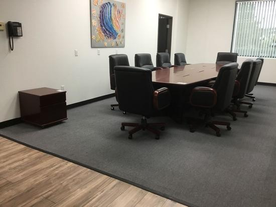 14ft. Los Angeles Conference Table, 10 Mid-Back Chairs and 2 drawer stand alone locking cabinet
